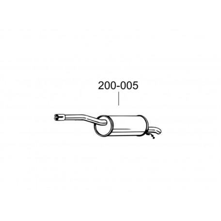 Глушитель Дачія Логан/Рено Логан (Dacia Logan/Renault Logan) Mcv, Van 1.4/1.6 MPI (200-005) Bosal 02.10 алюминизированый