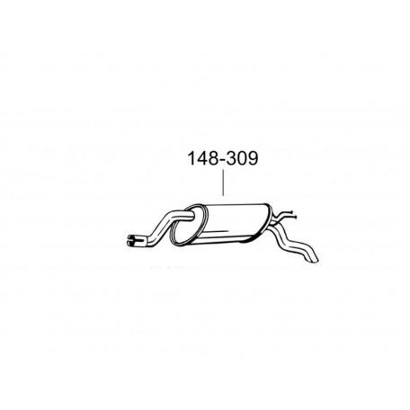 Труба средняя Фіат Пунто II (Fiat Punto II) 1,2-8V 99 (956-101) Bosal 07.410 алюминизированная