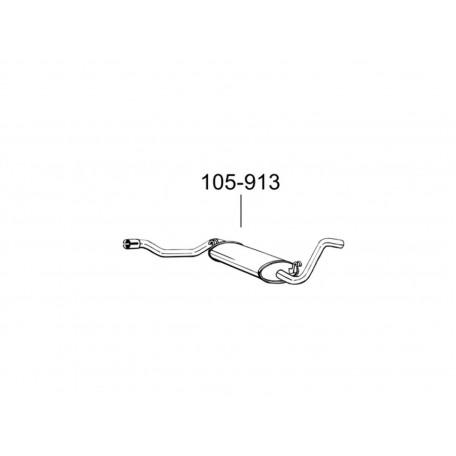 Глушитель Ауди 80 (Audi 80) 82-84 (105-913) Bosal 01.02 алюминизированный