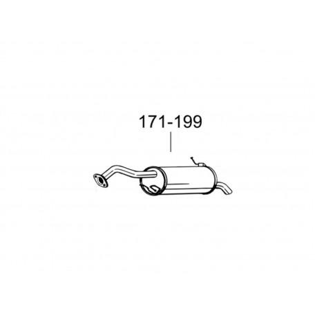Глушитель Мазда Премаси (Mazda Premacy) 01- (171-199) Bosal 12.205 алюминизированный