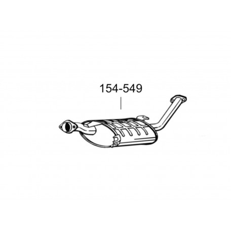 Глушитель передний Ниссан Террано I (Nissan Terrano I)/Форд Маверик (Ford Maverick) 2.4 4X4 93-98 LWB (154-549) Bosal 15.203 алюминизированный