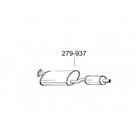 Глушитель передний Форд Транзит (Ford Transit) 88-91 2.5D 80-120 (279-937) Bosal 08.36 алюминизированный