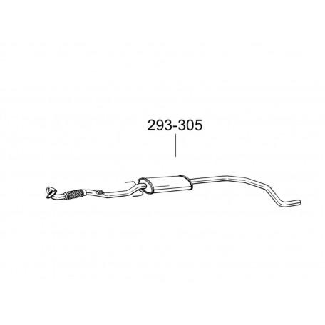 Глушитель передний Опель Корса Д (Opel Corsa D) 1.4 06- (293-305) Bosal 17.340 алюминизированный