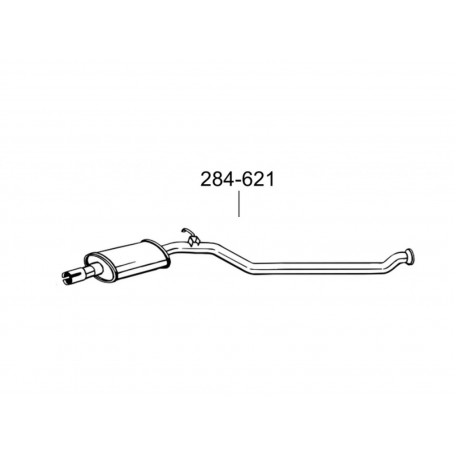 Глушитель передний Пежо 206 (Peugeot 206) CC 2.0i-16V 00-07 (284-621) Bosal 19.242 алюминизированный