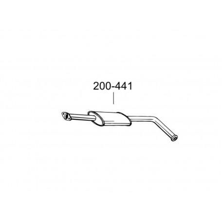 Глушитель передний Рено Клио (Renault Clio) 1.2i; 1.4i kat 90-98 (200-441) Bosal 21.10 алюминизированный