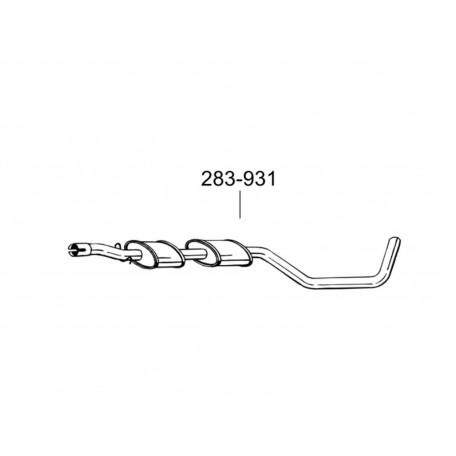 Глушитель передний Вольво 480 (Volvo 480) 2.0i 92-96 (283-931) Bosal 31.59 алюминизированный