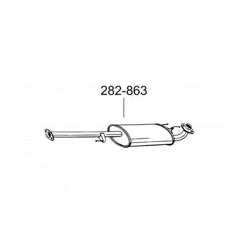 Глушитель Тойота Ленд Крузер (Toyota Land Cruiser) (282-863) 3.0D /2005 - 8/2009 Bosal алюминизированный