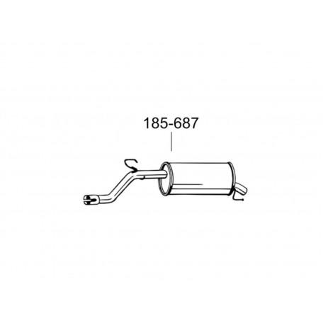 Глушитель задний Опель Корса Д (Opel Corsa D) 1.0 06 (185-687) Bosal 17.341 алюминизированный
