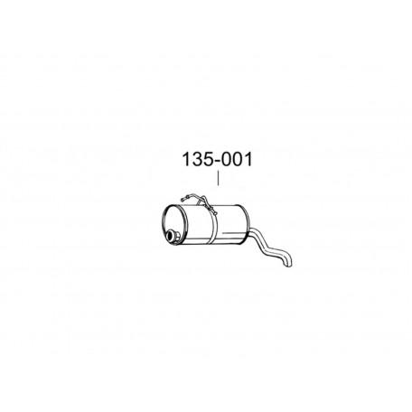 Глушитель задний Ситроен Берлинго (Citroen Berlingo)/Пежо Партнер (Peugeot Partner) 2.0HDi TD 99-04 (135-001) Bosal 04.145 алюминизированный