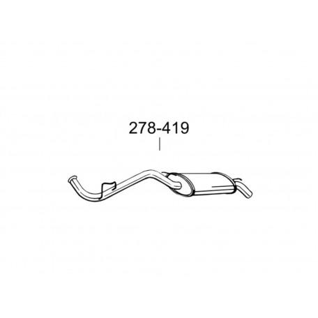 Глушитель задний Рено Клио (Renault Clio) 1.2; 1.4; 1.9D 90-98 (278-419) Bosal 21.09 алюминизированный