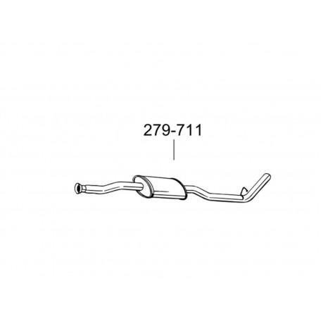 Глушитель задний Рено Кенго (Renault Kangoo) 1.5dCi TD 01- (279-711) Bosal 21.294 алюминизированный
