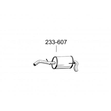 Глушитель задний Сеат Ароса (Seat Arosa)/Фольксваген Лупо (Volkswagen Lupo) 1.0i, 1.4i 00-05 (233-607) Bosal 23.68 алюминизированный