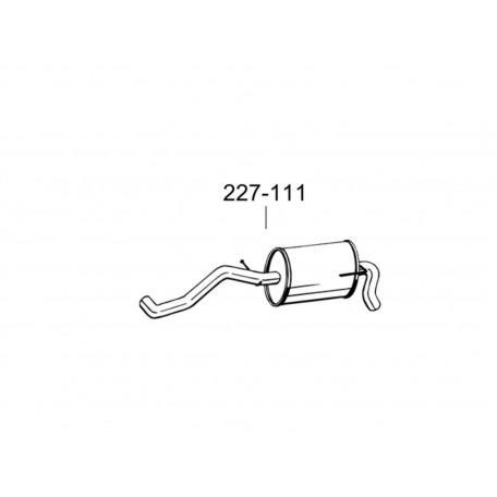 Глушитель задний Фольксваген Лупо (Volkswagen Lupo) 98-05 1.4i-16V 30.253 (227-111) Bosal 30.253 алюминизированный