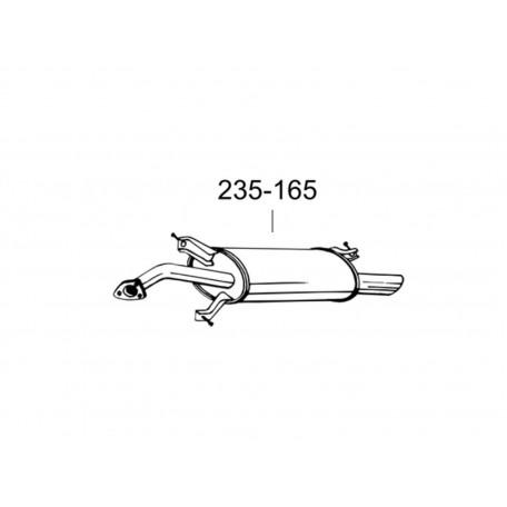 Глушитель задний Вольво В40 (Volvo V40) (31.97) 1.6/1.8/1.9 00-04 (235-165) Bosal 31.97 алюминизированный