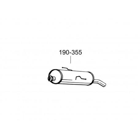 Глушитель Пежо 206 (Peugeot 206) 1.1; 1.4; 1.6 96- (190-355) Bosal 19.191 алюминизированный