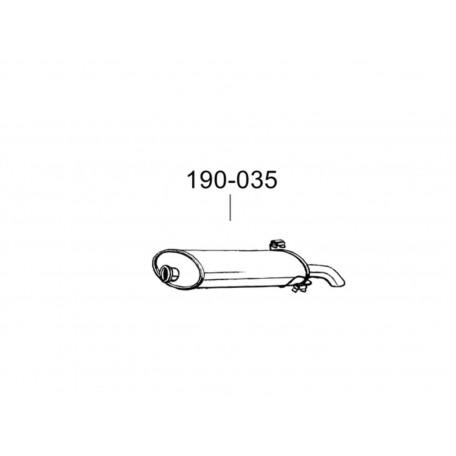 Глушитель Пежо 306 (Peugeot 306) 1.4-1.8/1.9D 3/5D 93- (190-035) Bosal 19.08 алюминизированный