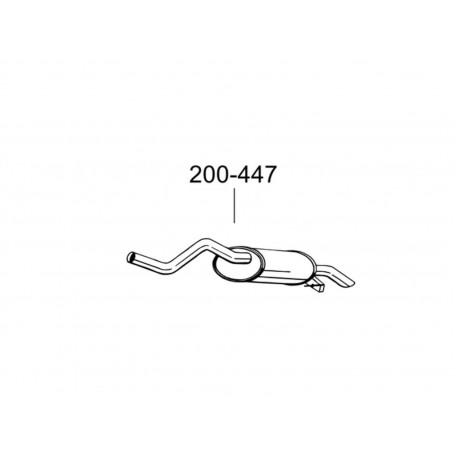 Глушитель Рено Клио II (Renault Clio II) 1.2 kat 98- (200-447) Bosal 21.261 алюминизированный