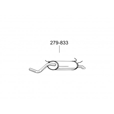Глушитель Рено Меган I, Сценик I (Renault Megane I , Scenic I) 1.4-1.6 kat 95-02 (279-833) Bosal 21.20 алюминизированный