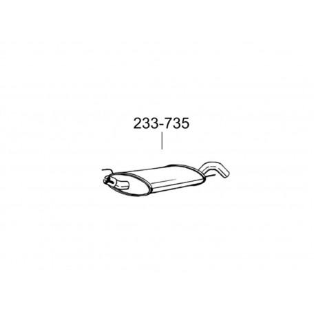 Глушитель Фольксваген Гольф III (Volkswagen Golf III) 1.6i/1.8i/2.0/1.9D/1.9TD 8V kat hatch., cabrio 91-01 (233-735) Bosal 30.31 алюминизированный
