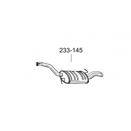 Глушитель Фольксваген Пассат (Volkswagen Passat) 2.0D 07-10 (233-145) Bosal 30.54 алюминизированный