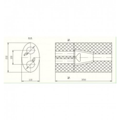 Бочка глушителя универсальная ( 210x110x350 )
